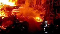 На месте пожара в детском спортивно-оздоровительном лагере Виктория в Одессе, Украина. 16 сентября 2017