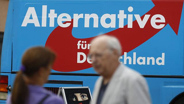 Автобус с логотипом партии Альтернатива для Германии во Франкфурте