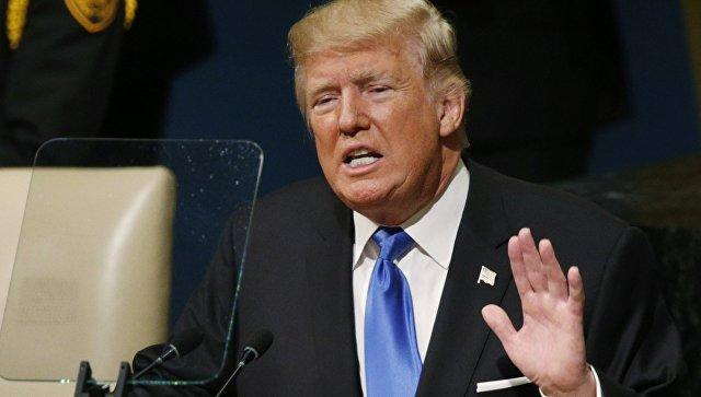 Президент США Дональд Трамп выступает на 72-й сессии Генеральной ассамблеи ООН, Нью-Йорк. 19 сентября 2016