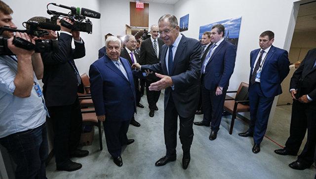 Глава МИД РФ Сергей Лавров на встрече с министром иностранных дел Сирии Валидом Муаллемом на полях 72-й сессии Генеральной Ассамблеи ООН. 22 сентября 2017