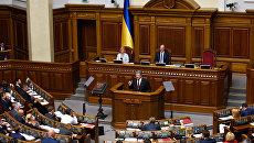 Президент Украины Петр Порошенко во время выступления на заседании Верховной рады Украины в Киеве