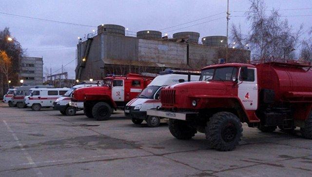Машины МЧС на рерритории Якутской ГРЭС. 1 октября 2017