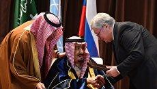 Король Саудовской Аравии Сальман бен Абдель Азиз Аль Сауд и ректор МГИМО Анатолий Торкуновна торжественной церемонии присвоения саудовскому монарху звания Почетного доктора МГИМО. 7 октября 2017