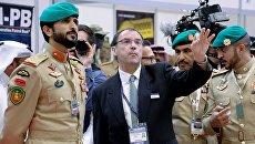 Командующий королевской гвардией Бахрейна, шейх Нассер Бин Хамад Бин Иса Аль Халифа на международной оборонной выставке BIDEC-2017 в Бахрейне