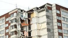 Разрушенная часть жилого панельного дома по Удмуртской улице в Ижевске 12 ноября 2017