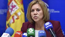 Мария Долорес де Коспедаль во время пресс-конференции. Архивное фото