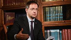 Министр культуры Российской Федерации Владимир Мединский дает интервью генеральному директору МИА Россия сегодня Дмитрию Киселеву