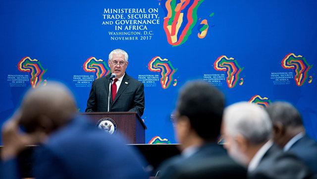 Государственный секретарь США Рекс Тиллерсон выступает во время встречи африканских лидеров в Государственном департаменте. 17 ноября 2017