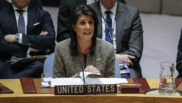 Посол США в ООН Никки Хейли выступает на заседании Совета Безопасности по ситуации в Северной Корее. 29 ноября 2017