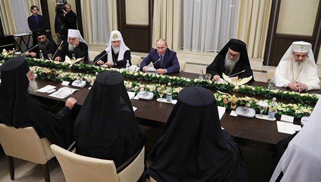 Президент РФ В. Путин встретился с главами делегаций поместных православных церквей