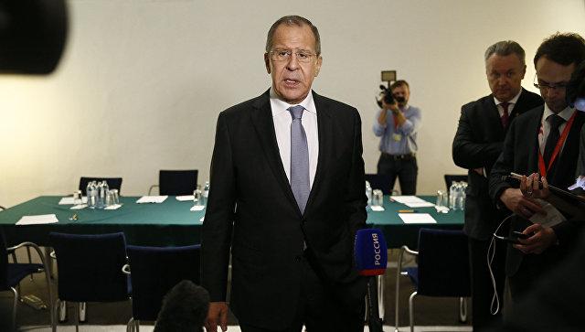 Министр иностранных дел России Сергей Лавров на пресс-конференции на полях СМИД ОБСЕ, Вена. 7 декабря 2017