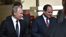 Президент РФ Владимир Путин и президент Египта Абдельфаттах Сиси во время встречи в Каире. 11 декабря 2017