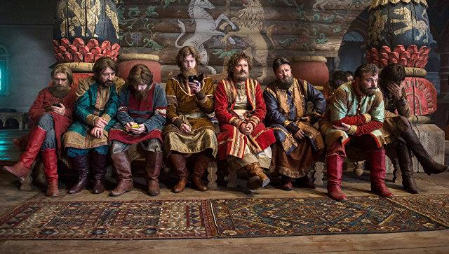 Актеры на съемках фильма Последний богатырь. Архивное фото