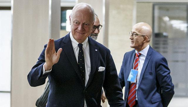 Cпецпосланник по Сирии Стаффан де Мистура перед переговорами в Женеве. 13 декабря 2017