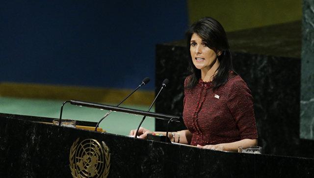 Постоянный представитель США при ООН Никки Хейли в зале Генеральной Ассамблеи ООН. 21 декабря 2017 года. Архивное фото