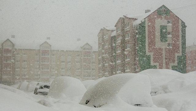 Сильная метель на Сахалине. Архивное фото.
