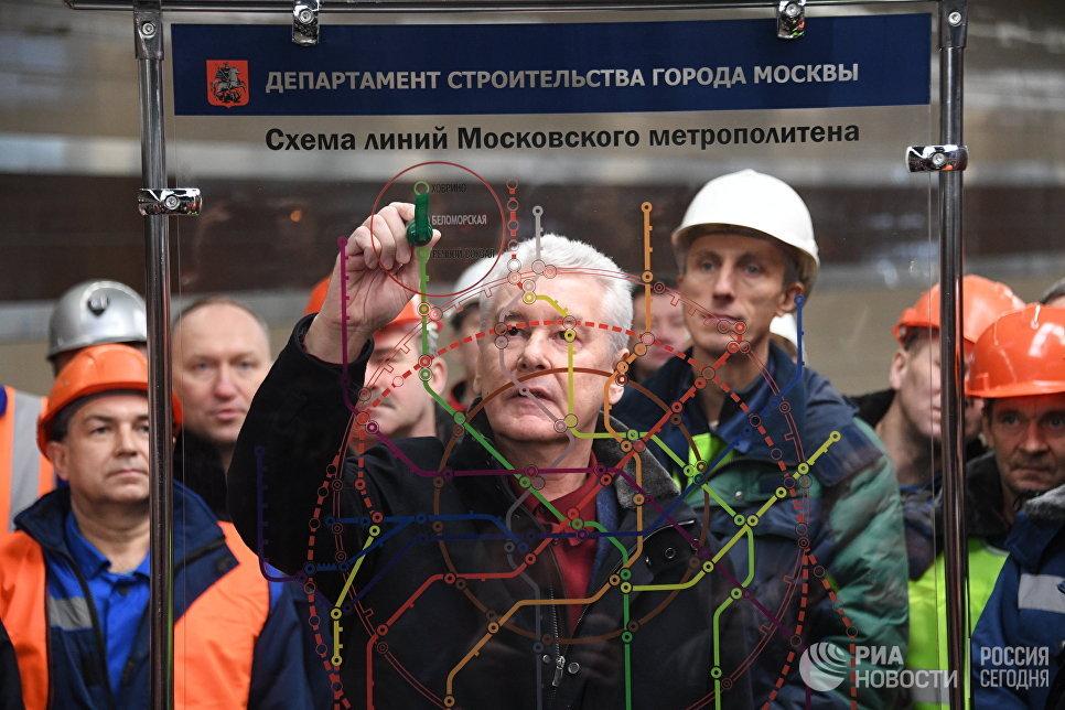Мэр Москвы Сергей Собянин на торжественной церемонии открытия станции метро Ховрино в Москве. 31 декабря 2017