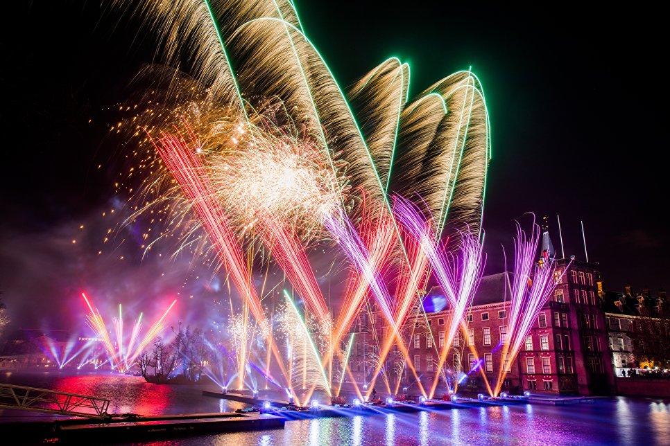 Во время празднования Нового года в Бинненхофе в Гааге, Нидерланды. 1 января 2018