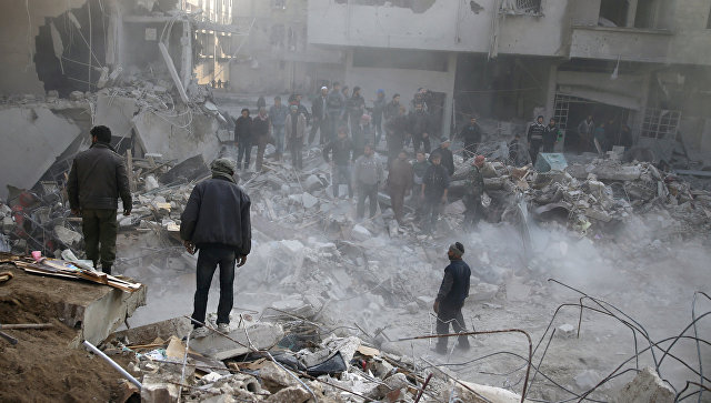 Последствия авиаудара в Дамаске, Сирия. 9 января 2018