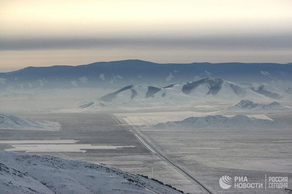 Участок Федеральной автомобильной дороги М54 Енисей Абакан -Кызыл в Пий-Хемском районе республике Тыва.
