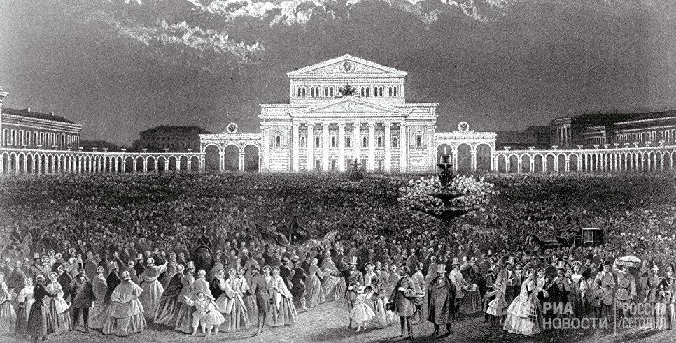 Репродукция литографии 1856 года Иллюминация Большого театра в день коронации