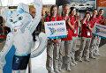 Волонтеры чемпионата мира по водным видам спорта встречают гостей в аэропорту Казани