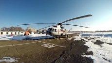 Вертолет МИ-8 Хабаровского авиационно-спасательного центра МЧС России, принимающий участие в поисках судна Восток. Архивное фото