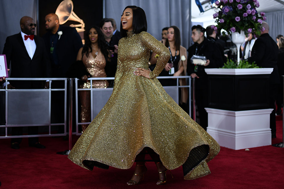 Американская певица Ашанти на 60-й церемонии Грэмми