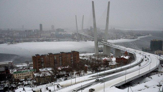 Вид с Орлиной сопки на вантовый мост через бухту Золотой Рог во Владивостоке. Архивное фото
