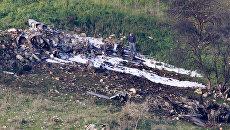 На месте крушения израильского истребителя F-16, участвовавшего в налете на Сирию. 10 февраля 2018