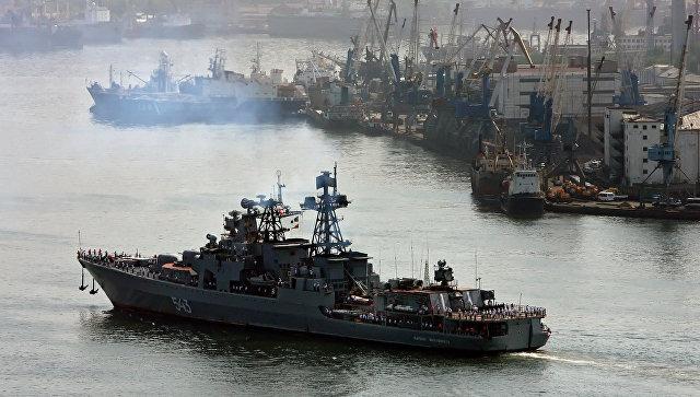 Прибытие большого противолодочного корабля Маршал Шапошников. Архивное фото