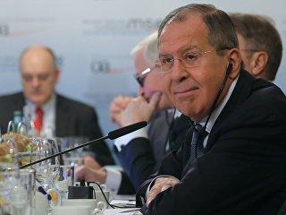 Министр иностранных дел РФ Сергей Лавров на деловом завтраке во время Мюнхенской конференции по безопасности. 17 февраля 2018