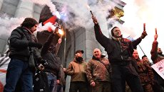 Участники антироссийской акции радикалов в Киеве. 18 февраля 2018