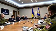 Президент Украины Петр Порошенко во время заседания Военного кабинета в Киеве. 20 февраля 2018