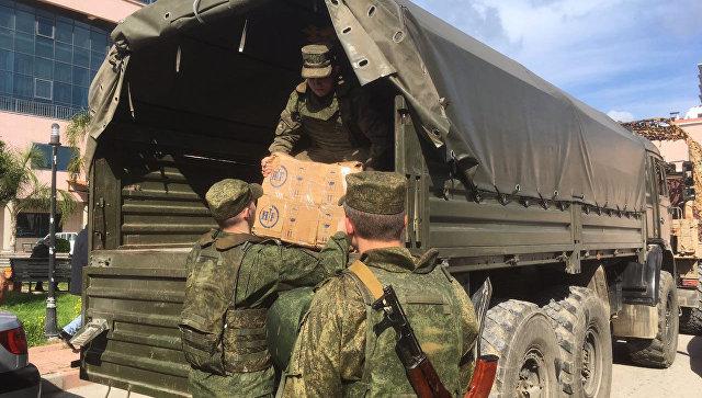 Российские военные доставили гуманитарную помощь в Сирию. Архивное фото