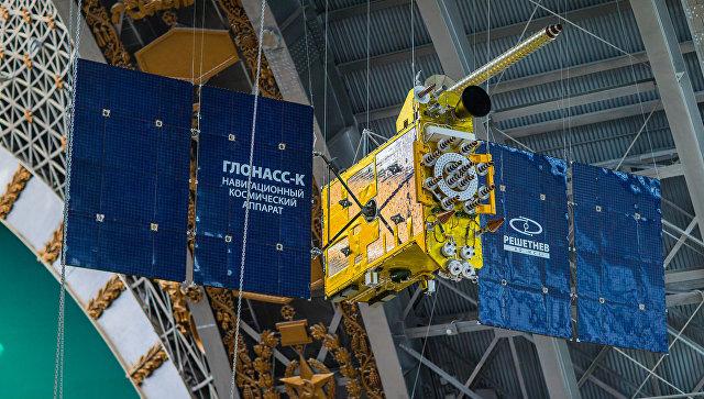 Полноразмерный макет космического аппарата Глонасс-К российской глобальной навигационной системы ГЛОНАСС. Архивное фото