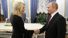 Президент РФ Владимир Путин и журналист американского телеканала NBC Мегин Келли перед началом интервью в Кремле