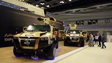 Военные грузовики на международной военно-морской выставке-конференции DIMDEX в Катаре. 12 марта 2018