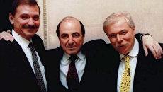 Николай Глушков (слева), Борис Березовский и Бадри Патаркацишвили. 1995