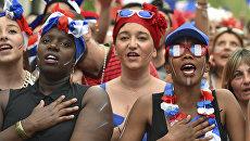 Французские болельщики исполняют национальный гимн Франции на Евро-2016