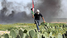 Палестинский демонстрант перебегает через кактусовое поле во время столкновений с израильскими силами на границе между Израилем и Секотором Газа. Архив