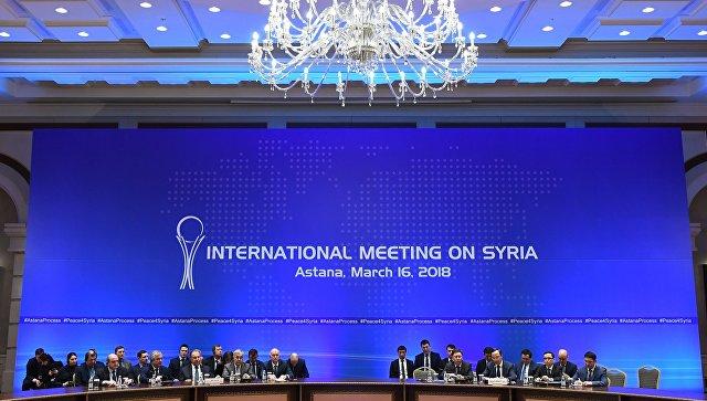 На встрече глав МИД стран-гарантов перемирия в Сирии , которая проходит в Астане. 16 марта 2018