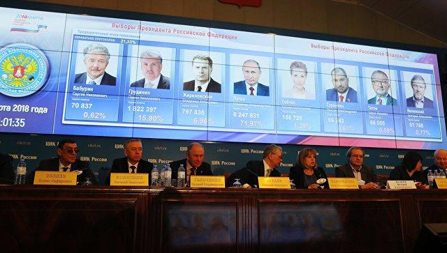 Портреты кандидатов в президенты РФ с данными по голосованию за них на экране в ЦИК РФ
