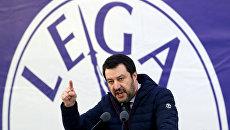 Лидер итальянской партии Северная лига Маттео Салвини во время политического митинга в Милане, Италия. 24 февраля 2018
