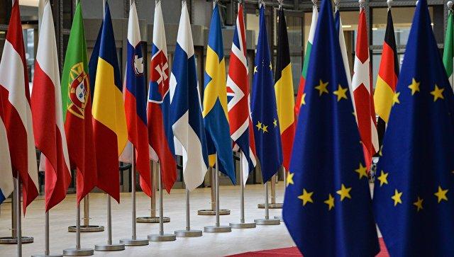 Флаги стран-участников саммита ЕС в Брюсселе. 22 марта 2018
