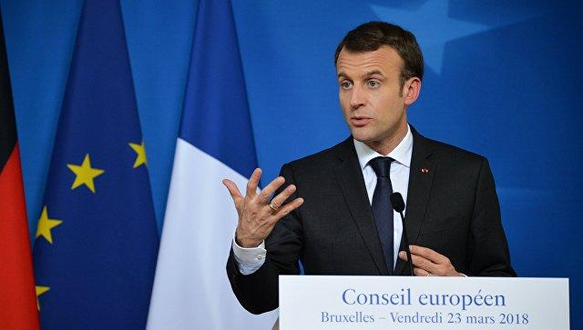 Президент Франции Эммануэль Макрон на саммите ЕС в Брюсселе.  23 марта 2018