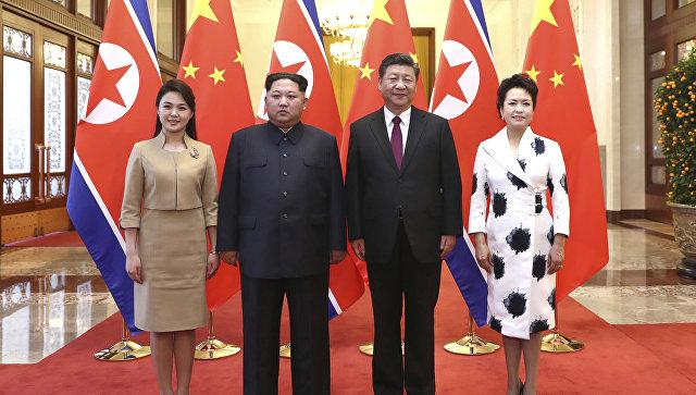 Image result for Ким с супругой в Китае фото