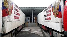 Автомобили МЧС России с гуманитарной помощью в Донецке. Архивное фото
