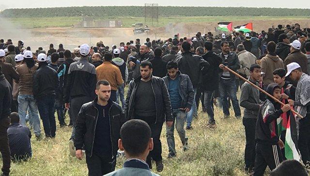Участники акции протеста на границе сектора Газа с Израилем. Архивное фото