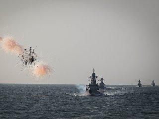 Учения корабельных сил Каспийской флотилии. Архивное фото